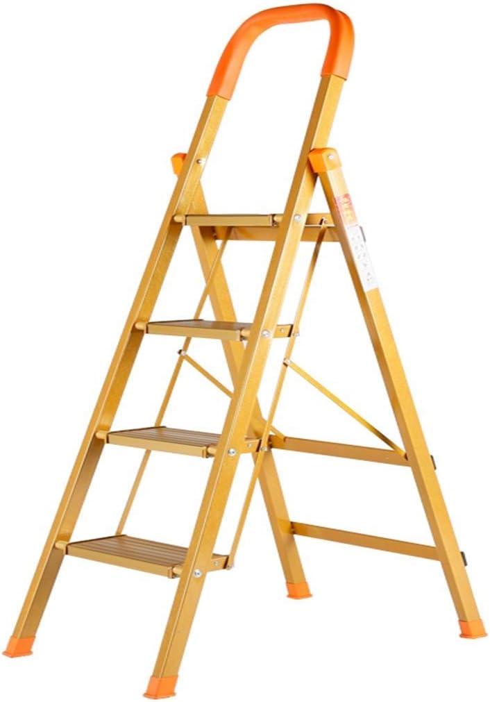 QI-shanping Escalera Plegable de 5 peldaños con empuñadura Conveniente Antideslizante Pedal Resistente y Ancho Pedal de 330 Libras portátil de Aluminio/Oro Amarillo / 38.6x17.7x66.9 Pulgadas: Amazon.es: Hogar