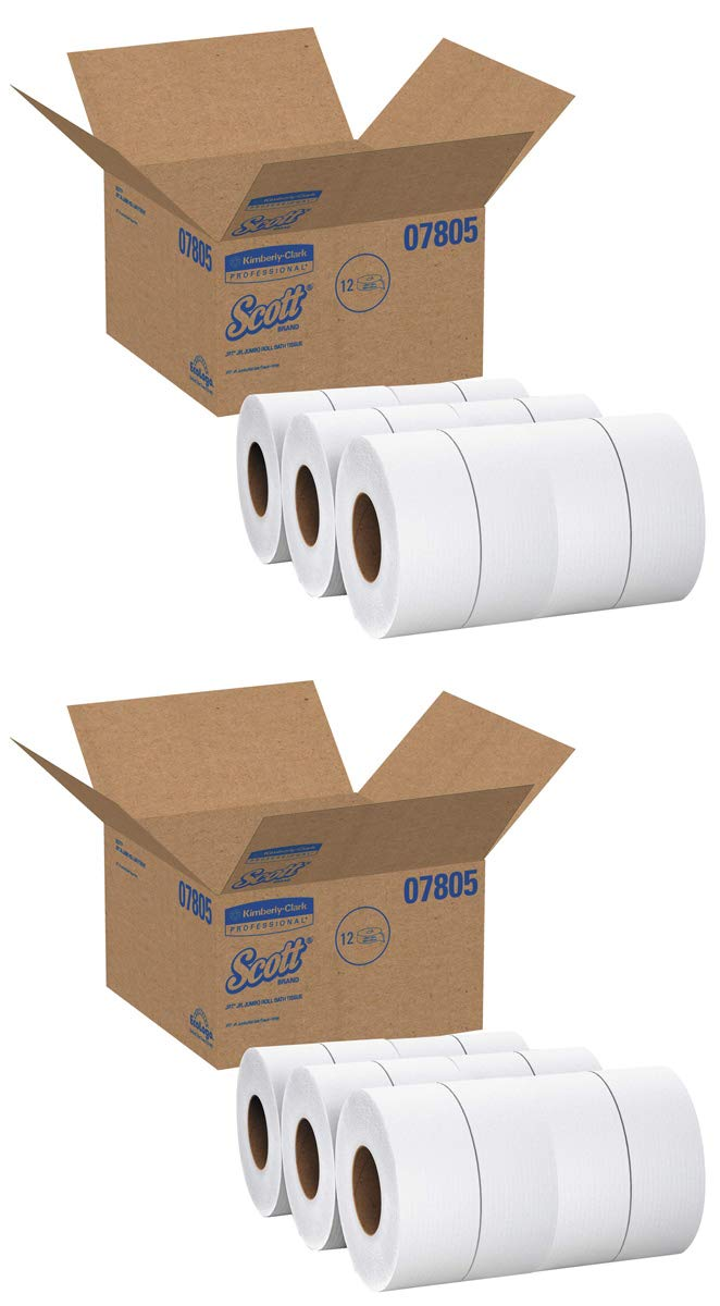 Scott UUBVZJLA Essential Jumbo Roll JR. Commercial Toilet Paper (07805), 2-PLY, White, 1000' / Roll, 2 Case of 12 Rolls by Scott (Image #1)