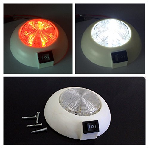 LED 12V Dual White Red RV Caravan Trailer Boat Interior Ceiling Dome Light US