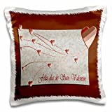 3dRose Feliz dia de San Valentin, Happy Valintines Day in Spanish, Copper Hearts  - Pillow Case, 16 by 16-inch (pc_37053_1)