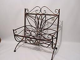 Copper Brown Wrought Iron Magazine Rack Basket