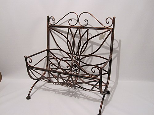 - Copper Brown Wrought Iron Magazine Rack Basket