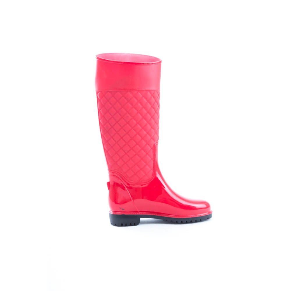 Soho Shoes Women's Vinyl Knee High Quilted Wellington Rain Boots