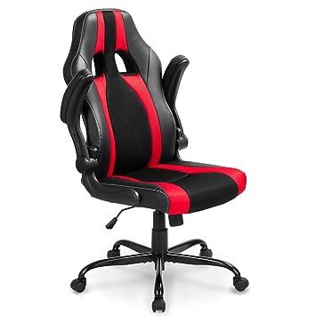 Silla de oficina Life Carver®, estilo gaming, con suave mecanismo basculante y giratorio, para ordenador, videojuegos, oficina, colores rojo y negro: ...