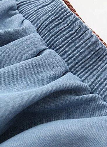 Women's Waist Skirt Flounce High Light Blue Denim Achicgirl Fashion dtcnv6tq