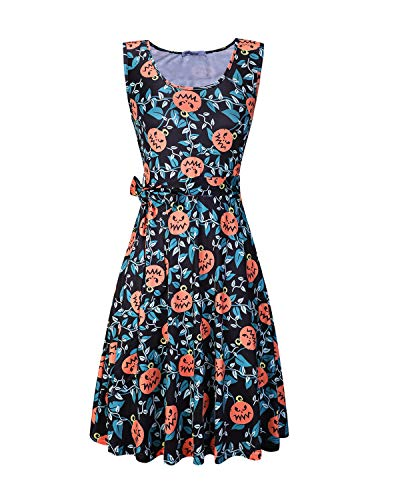 (STYLEWORD Women's Halloween Sleeveless Flare Cocktail Dress with)