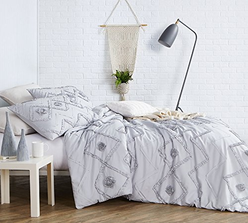 Byourbed Ruffled Chevron Textured King Duvet Cover - Oversized King XL - Glacier Gray