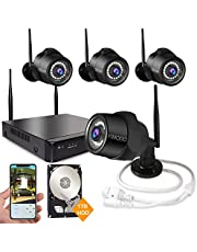 Rraycom 4CH 1080P HD NVR Wireless Security Camera System,4PC 2.0MP Weatherproof Indoor/Outdoor Survillance Cameras with 115ft Night Vision,Support Smartphone Remote View with 1TB Hard Drive