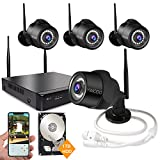 Cheap Wireless Security Camera System,4 Channel HD 1080P NVR with 4pcs 2.0MP IP Cameras with IR Night Vision,Outdoor/Indoor CCTV WiFi Cameras,Support Smartphone Remote View with 1TB Hard Drive