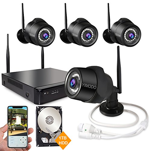 Rraycom 4CH 1080P HD NVR Wireless Security Camera System,4PC 2.0MP Weatherproof Indoor/Outdoor Survillance Cameras with 115ft Night Vision,Support Smartphone Remote View with 1TB Hard Drive ()