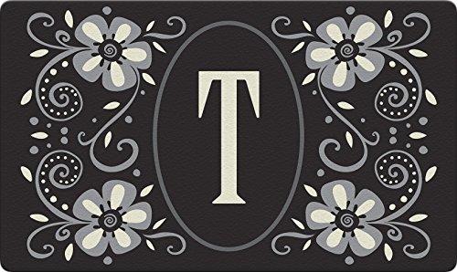 Toland Home Garden Classic Monogram T 18 x 30 Inch Decorative Floor Mat Flower Design Pattern Doormat