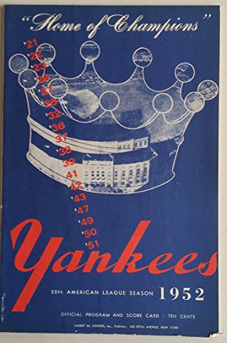 1952 Yankees Program vs Senators (24 pg) Unscored Excellent [Minor paper loss on cover corner, ow very clean] from Sports Publications