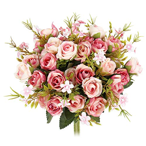 N&T NIETING 5 Branch 10 Heads Aritificial Fake Flowers Silk Mini Rose Flowers Wedding Bridal Bouquet Home Office Decor, Pack of 4 (Pink) (Mini Rose Bouquet)