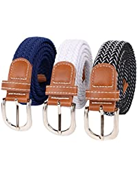 3 pcs Kids Boys Girls Stretchy Elastic Web Woven Braided Belts Set