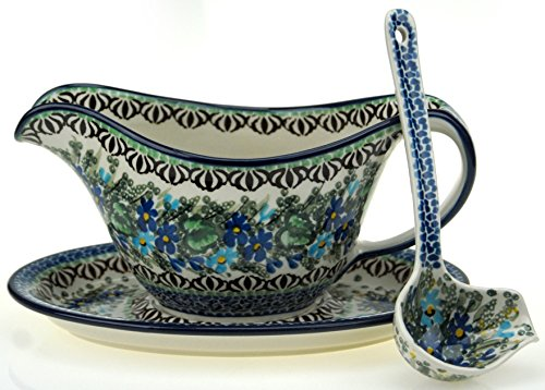 Ceramika Artystyczna Polish Hand Painted Gravy Boat, Stand, and Ladle (Blue Bouquet)