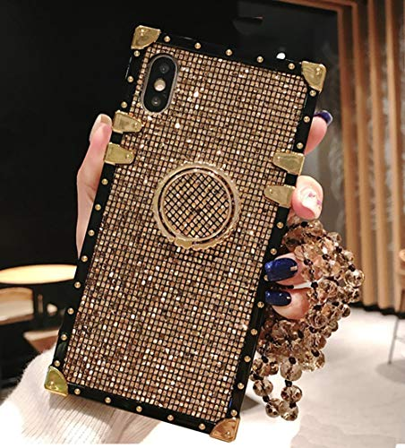 KAPADSON for iPhone 7 Plus /8 Plus Newest Bling Glitter Skin Design TPU+ PU Leather Gold Square Corner Back Case Flexible Cover with Strap - Gold