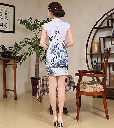Vestito Blu Eleganti Partito Il Donne Cheongsam Xuexian Qipao Per Convenzionale Abito Mini znxwqn58v7