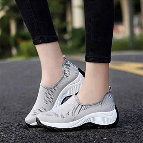 Gris Casual Plataforma Respirables Para Zapatos Zapatillas Mogeek Sin Cordones Mujer nc71zSPqW