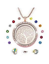 PWMEN Family Tree of Life Floating Charm Living Memory Locket Pendant Magnetic Closure Birthstone Necklace