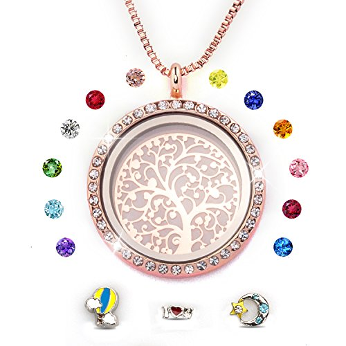 Gold Silver Crystal Trinket Plated (PWMEN Rose Gold,Family Tree of Life Floating Charm Living Memory Lockets Magnetic Closure Necklace All Birthstone Charms Include(Rose Gold))