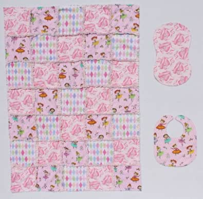Little Ballerina with Pink Dance Shoes Baby Rag Quilt Blanket with Matching Burp Cloth and Bib