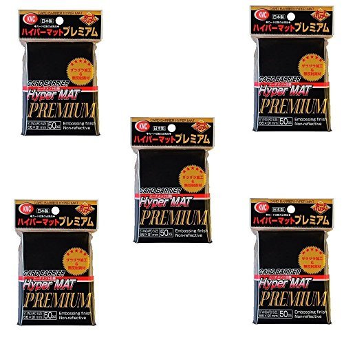 KMC Hyper Matte Sleeves Premium Black ×5 Sets (5 Packs/total 250 Sheets) (Japan Import) Made in Japan by KMC