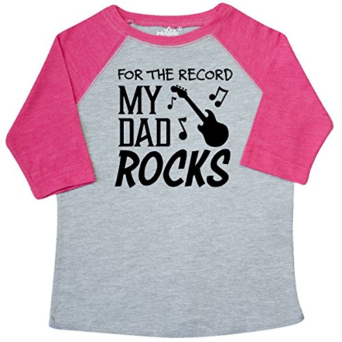 inktastic record, My Dad Rocks Toddler T-Shirt 2T Heather and Hot (Dad Rocks Toddler T-shirt)