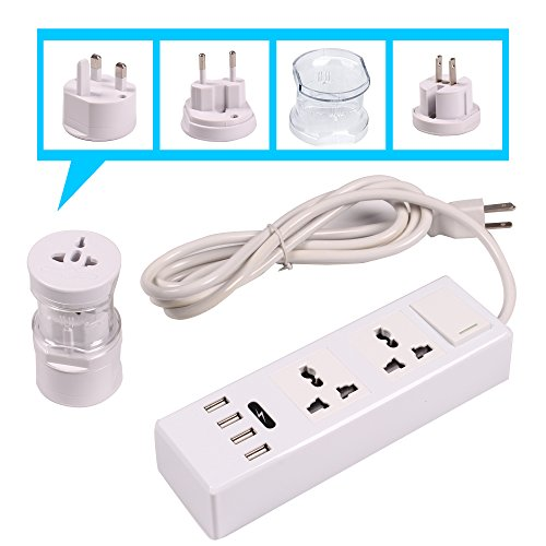ETvalley Travel Charger Set Power Strip with 2AC Outlets and 4 USB Plugs - International Travel Outlet Plug Adapter Set (US to Euro/UK, UK to USA/AU) Color White (Euro Plug Converter)