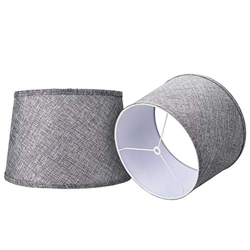 Double Medium Gray/Brwon Lamp Shades Set of 2, Alucset Drum Fabric Lampshades for Table Lamp and Floor Light,10x12x8 inch,Natural Linen Hand Crafted,Spider (Grey, 2 pcs Pack)