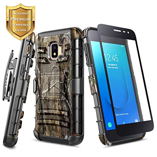 Galaxy J2 Core / J2 Pure /J2 Dash Case with Tempered Glass Screen Protector (Full Coverage), NageBee Belt Clip Holster Full-Body Shockproof Built-in Kickstand Case for Samsung Galaxy J2 (2019) -Camo