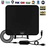 TV Antenna, Upgraded Indoor HDTV OTA Digital Antenna w/Detachable Table Stand - 4K 1080P Ultra HD UHF VHF Local Channels Free View with Amplified 65 Mile Range Booster and 13.2ft Coax Cable