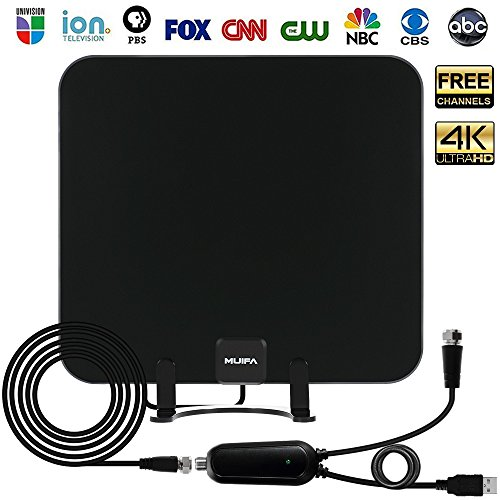 TV Antenna, Upgraded Indoor HDTV OTA Digital Antenna w/Detachable Table Stand - 4K 1080P Ultra HD UHF VHF Local Channels Free View with Amplified 65 Mile Range Booster and 13.2ft Coax Cable (Black)