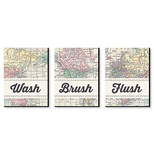 Brush Map - World Awaits - Travel Themed Kids Bathroom Rules Wall Art - 7.5
