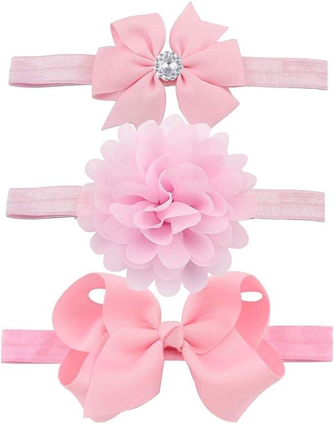 Yueshop 3pcs//Set Baby Kids Girls Bowknot Headband Toddler Elastic Hair Band Headwear Bow for Newborn Infant Toddlers