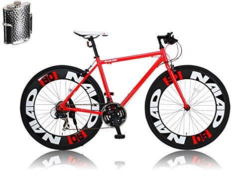 CANOVER(カノーバー)クロスバイク 700C シマノ21段変速 CAC-023 (NAIAD) ステンレスボトル&ケージセット 90mmディープリム アルミフレーム フロントLEDライト付 [メーカー保証1年] B01A5543AW レッド レッド