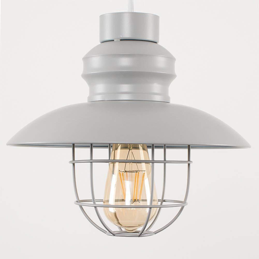 DECORATZ LED Retro Wrought Iron Black Chandelier Ceiling Lamp, Diameter 28cm Gray/White/Rose Gold Modern Antique Lampshade Living Room Kitchen Lighting Fixture