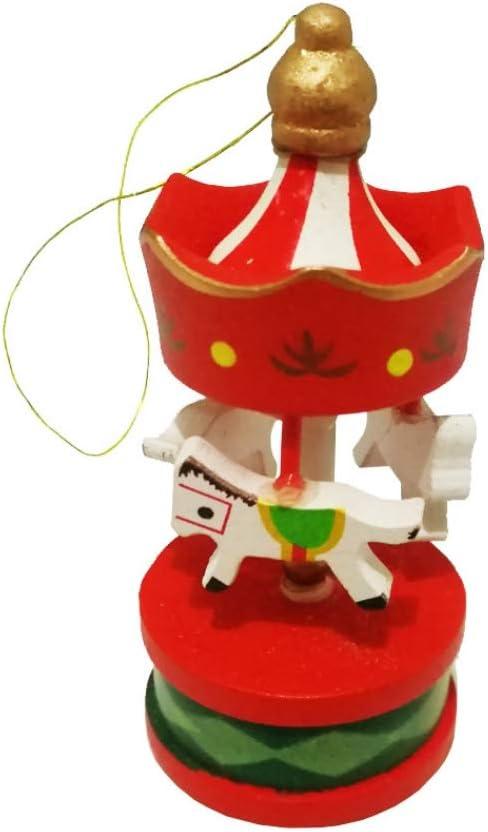 Yalatan Adornos de caballo de carrusel de árbol de Navidad, colgante colgante vintage Decoración de Navidad, decoración de boda Regalo de cumpleaños de caballo de carrusel de madera para niños