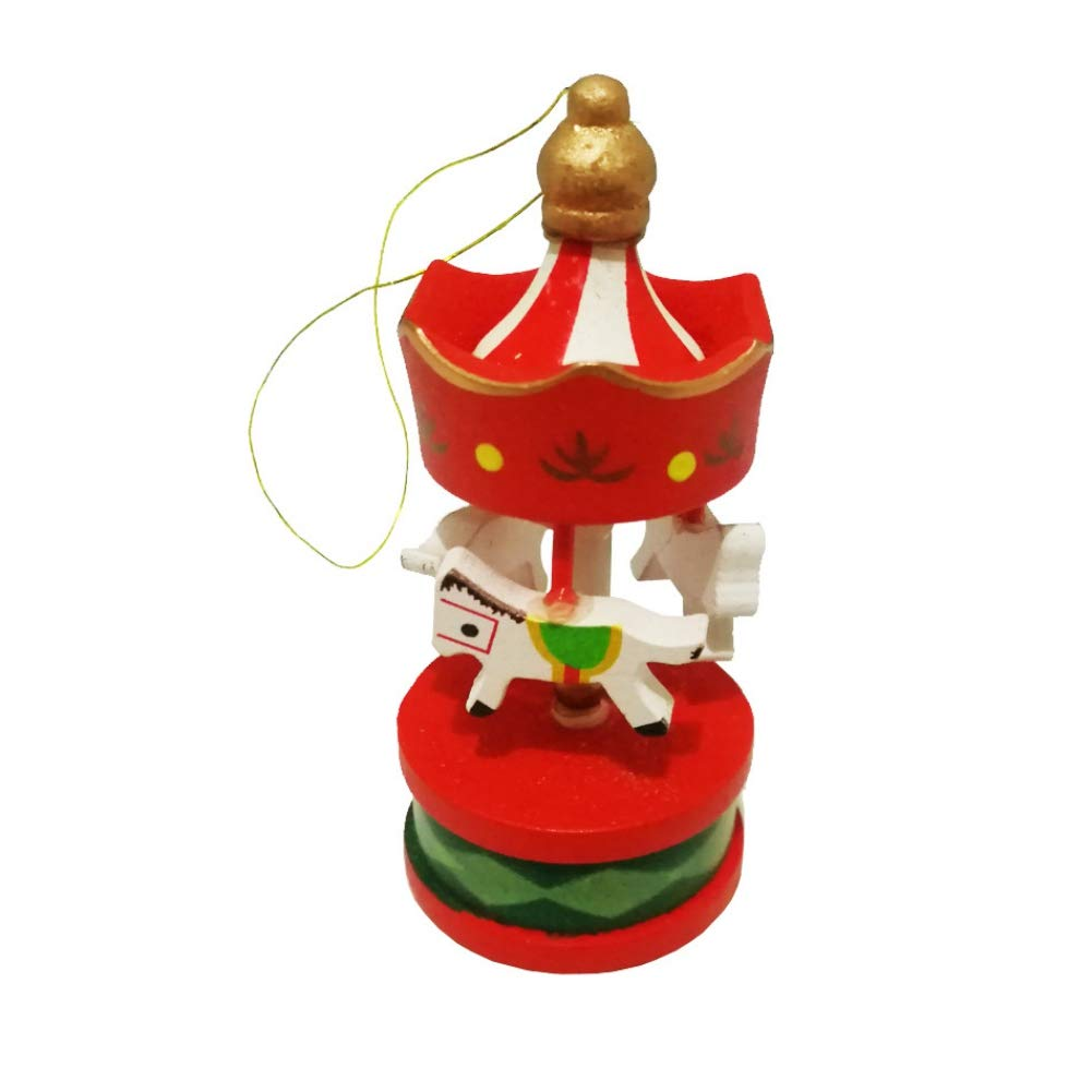decoraci/ón de boda Regalo de cumplea/ños de caballo de carrusel de madera para ni/ños colgante colgante vintage Decoraci/ón de Navidad Yalatan Adornos de caballo de carrusel de /árbol de Navidad