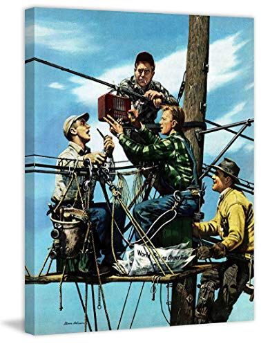 (Marmont Hill 52x40 Linemen Listen to World Series by Stevan Dohanos Painting Print on Wrapped Canvas, 52