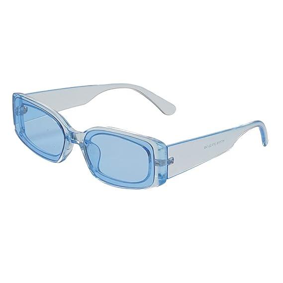 JiaMeng Gafas de sol rectangulares Unisex Protección contra ...