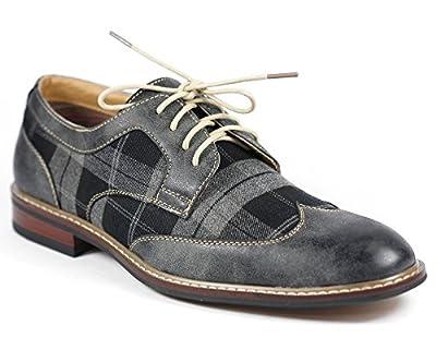 Ferro Aldo M-19266A Gray Mens Plaid Lace Up Oxford Dress Classic Shoes