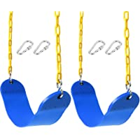 """Take Me Away 2 Pack Swings Seats Heavy Duty 66"""" Chain Plastic Coated - Playground Swing Set Accessories Replacement with Snap Hooks (Blue)"""
