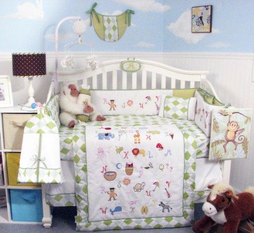 SoHo Baby Crib Bedding 10Pc w Diaper Bag, Letters