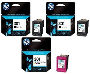 2 x HP 301 Original negro y 1 x cartucho de tinta de color ...