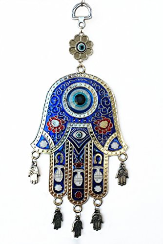 [Blue Evil Eye Hamsa Protection Hanging Decoration Ornament (With Betterdecor Gift Pouch)] (Hamsa Wall)