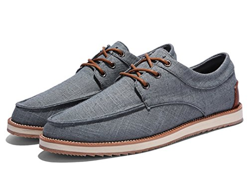 TDA Mens Casual Breathable Low Cuff Lace-up Linen Outdoor Sneaker Dark Grey AWWR4ox