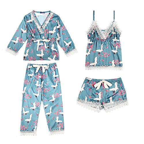 Sexy Pajamas for Women Silky Sets, Silk Satins Lace Sleepwear Black,Thin Strap Dress Robe Shorts & Pants Home Wear Clothes (Light Blue)