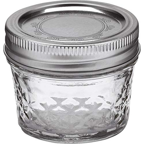 Ball 4Ounce Quilted Crystal Jelly Jars with Lids and Bands Set of 122 Pack Total 24 Jars