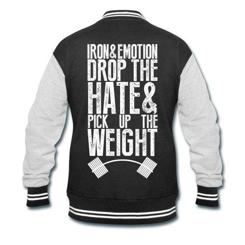 Spreadshirt Men's Drop the hate Sweatshirt Jacket, black/heather gray, S