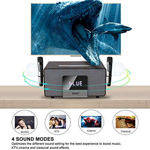 RHM Home Karaoke System on TV with 2 Wireless Microphones,All in One Wireless PA Speaker System with Bluetooth/AUX/USB,Professional Home KTV Set for Meeting,Home,Party,Speech